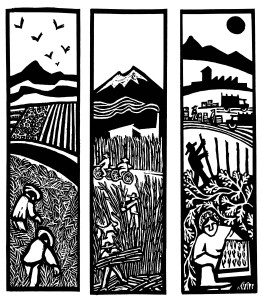 3 panels workers, landscapes